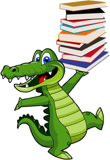 Gators carrying books